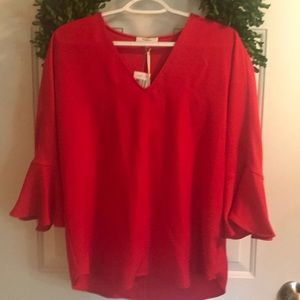 NWT - Red Bell Sleeve Blouse - Small